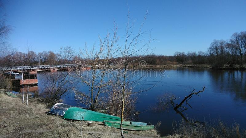 De aard van het land van Witrussische rivier Sozh stock foto
