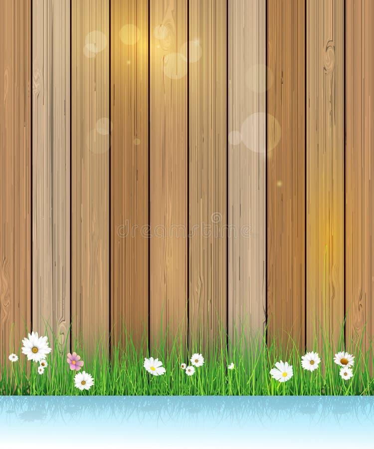 De aardachtergrond van de lente Groene gras en bladinstallatie over houten omheining vector illustratie