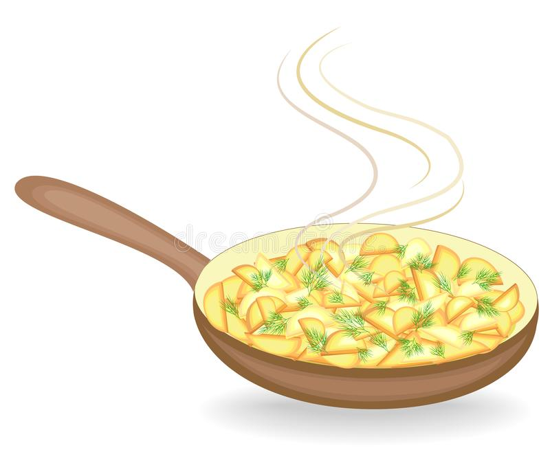 De aardappels zijn gebraden in een pan Bovenkant van de verse groene dille Snel, smakelijk en voedzaam voedsel Vector illustratie stock illustratie