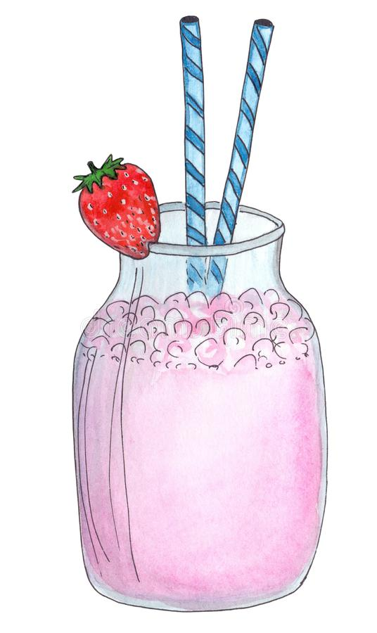 De aardbeimilkshake, doorboort gekleurde drank De zomerbes, roomijs en melkcocktail in een glaskruik, met een rode strawber wordt stock illustratie