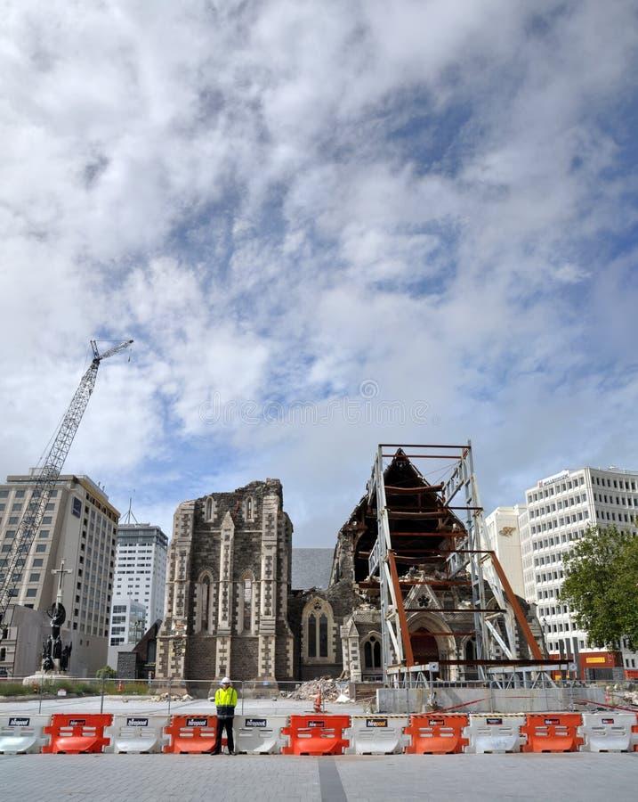 De Aardbeving van Christchurch - de Anglicaanse Ruïnes van de Kathedraal stock foto's