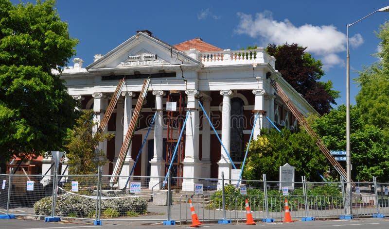 De Aardbeving van Christchurch - de Doopsgezinde Schade van de Kerk stock foto