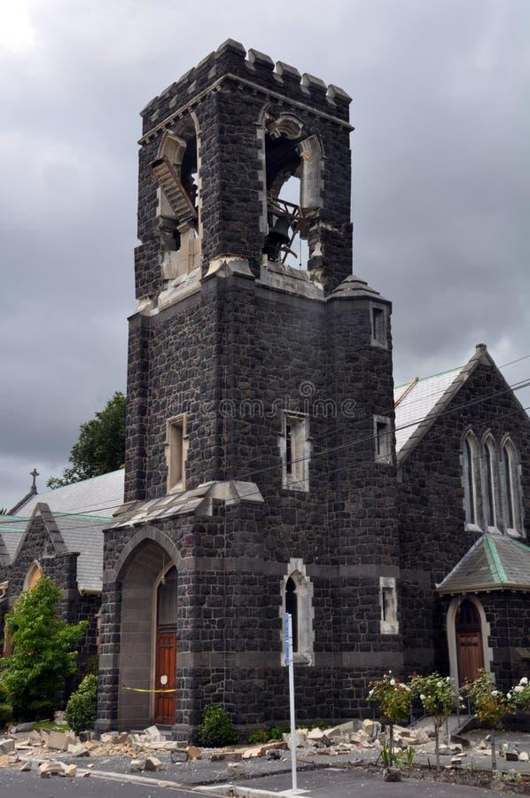 De Aardbeving van Christchurch - St Marys de Toren van de Kerk stock afbeelding