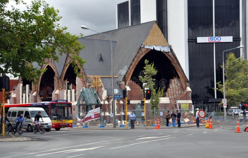 De Aardbeving van Christchurch - Vernietigde Kerk Knox stock fotografie