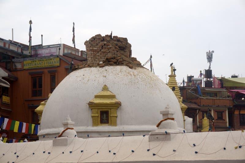 De aardbeving 2015 van Nepal Katmandu stock foto