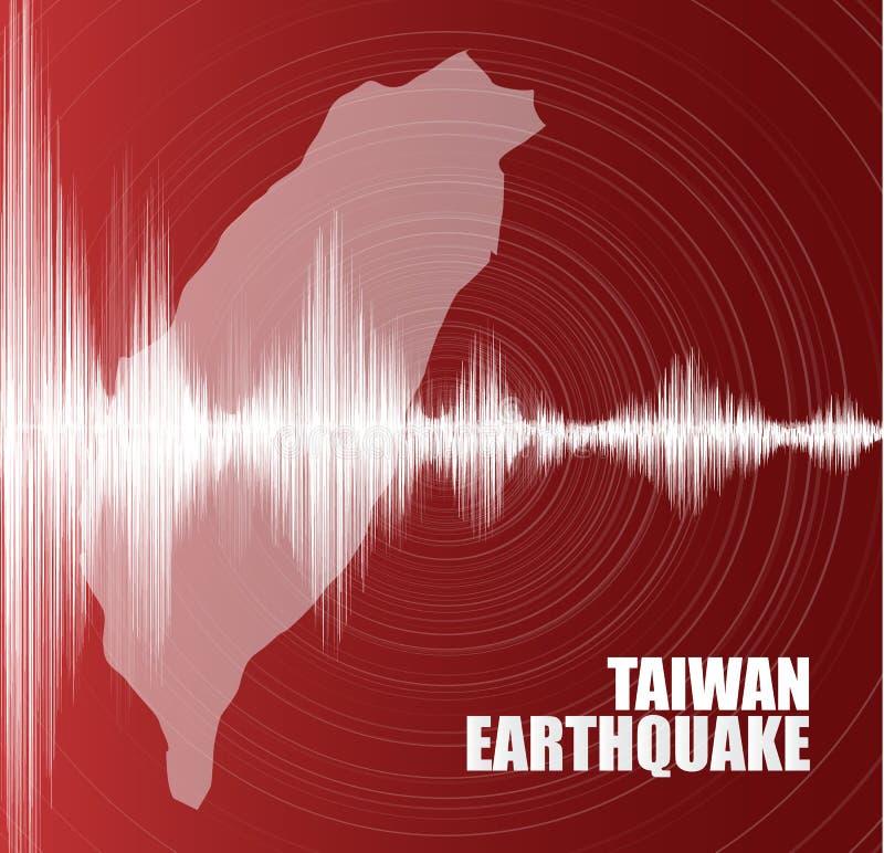 De Aardbevingsgolf van Taiwan met Cirkeltrilling op Rode achtergrond, het audioconcept van het golfdiagram, ontwerp voor onderwij stock illustratie