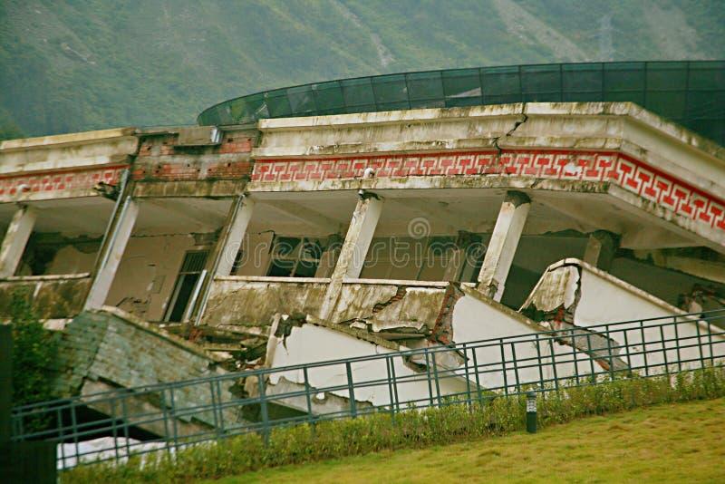 De aardbevingsplaats in Xuan Kou-lage school stock afbeelding