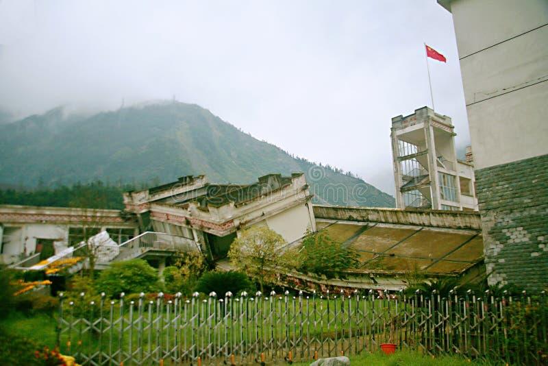 De aardbevingsplaats in Xuan Kou-lage school royalty-vrije stock afbeelding