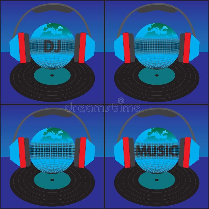 De aarde (de bol) met de tekst, de hoofdtelefoons en het vinylverslag vector illustratie