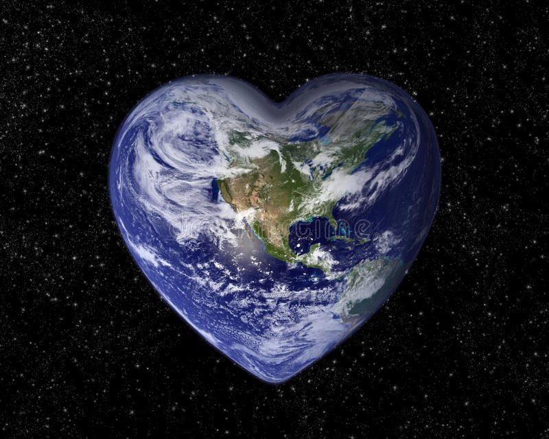 De aarde in de vorm van een hart stock foto