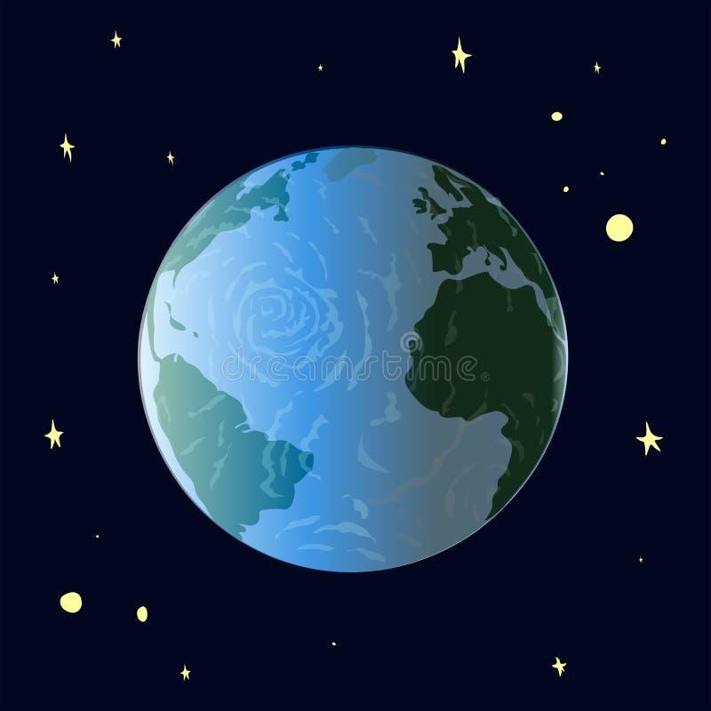 De aarde drijft tegen de sterrige hemel stock afbeelding