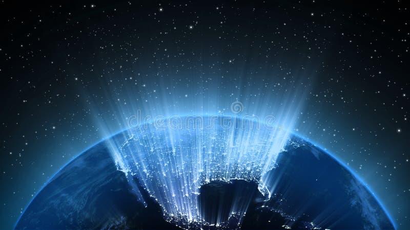 De aarde in heelal of ruimte, de Aarde en de melkweg in een nevel betrekken stock illustratie