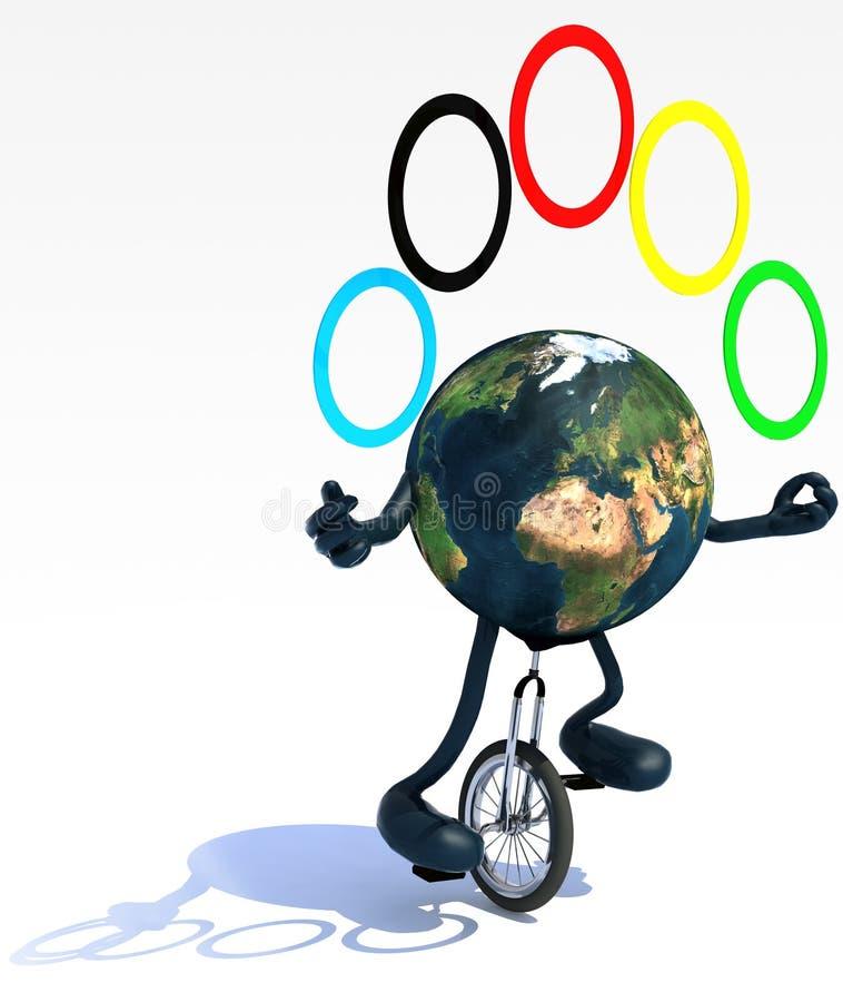Download De Aarde Jongleert Met Met Wapens En De Benen Berijdt Een Unicycle Stock Illustratie - Illustratie bestaande uit geïsoleerd, internationaal: 39596007