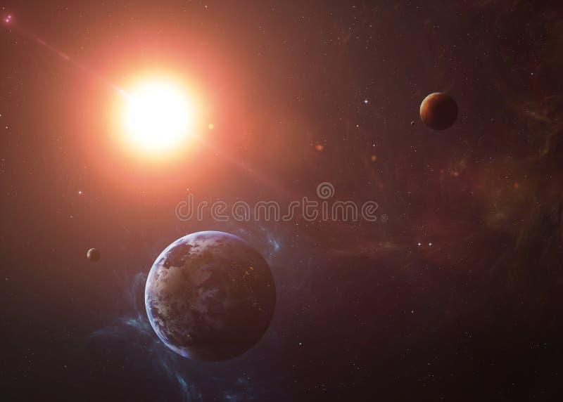 De Aarde met Mars schoot van ruimte die allen tonen stock afbeeldingen