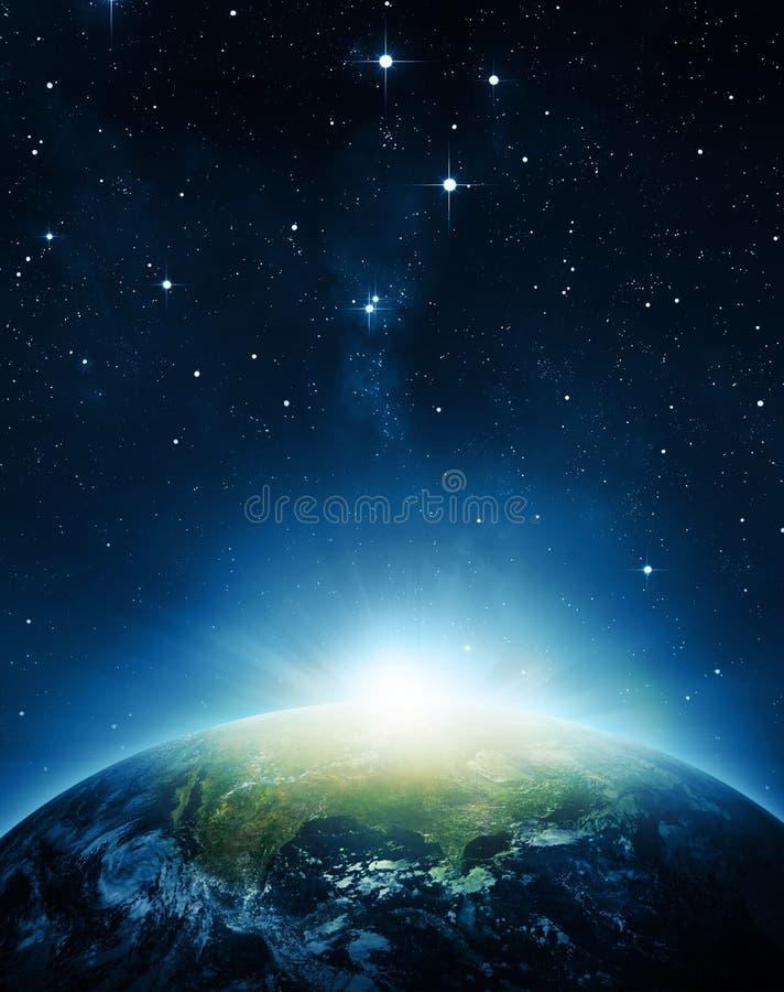 De aarde met zonsopgang royalty-vrije stock fotografie