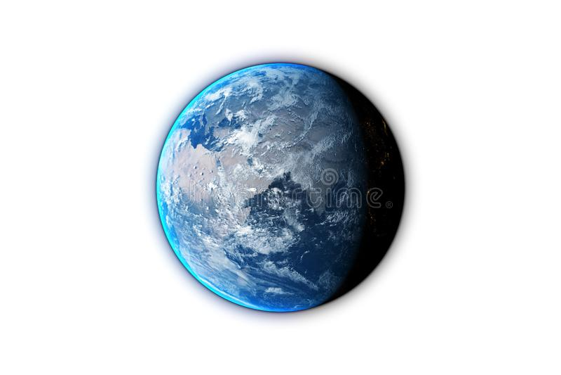 de aarde op zwarte 3d die achtergrond wordt geïsoleerd, geeft terug Elementen van dit die beeld door NASA wordt geleverd royalty-vrije illustratie