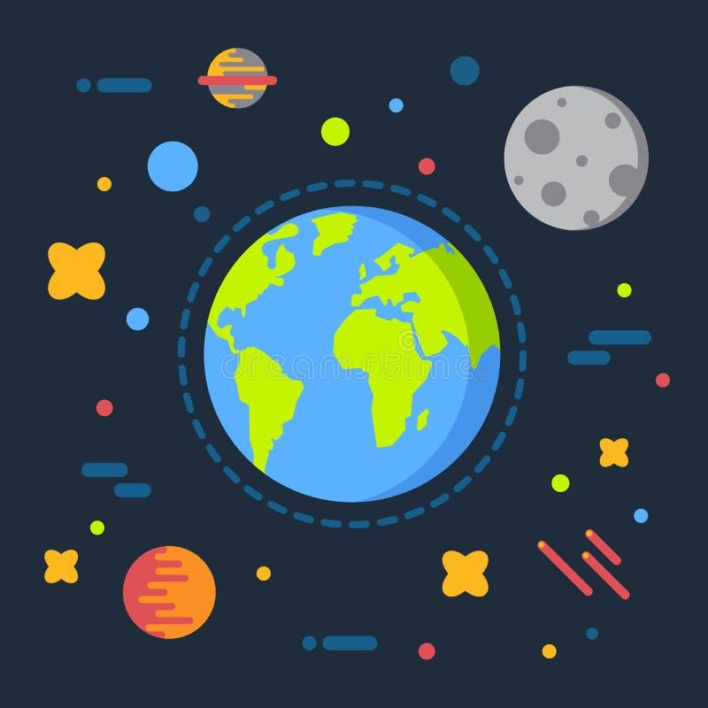 De aarde in ruimte vectorillustratie, zonnestelselheelal, maan, begint vlak beeldverhaalontwerp royalty-vrije illustratie