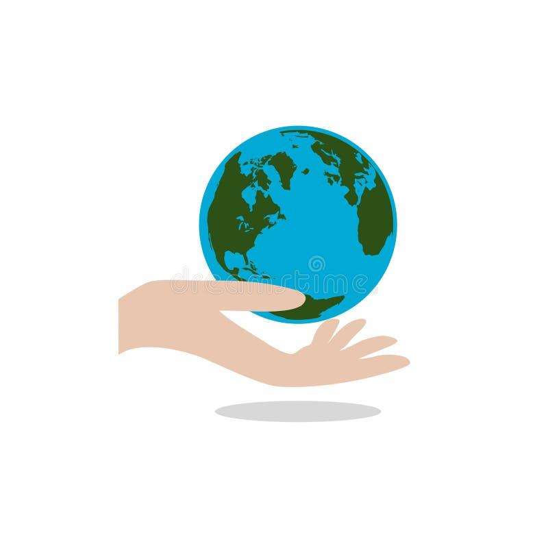 De aarde van de handgreep, sparen het planeetconcept, het pictogram of het embleem stock illustratie