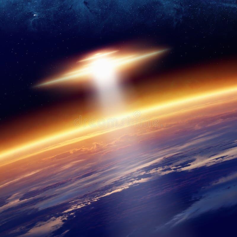 De aarde van UFObenaderingen vector illustratie