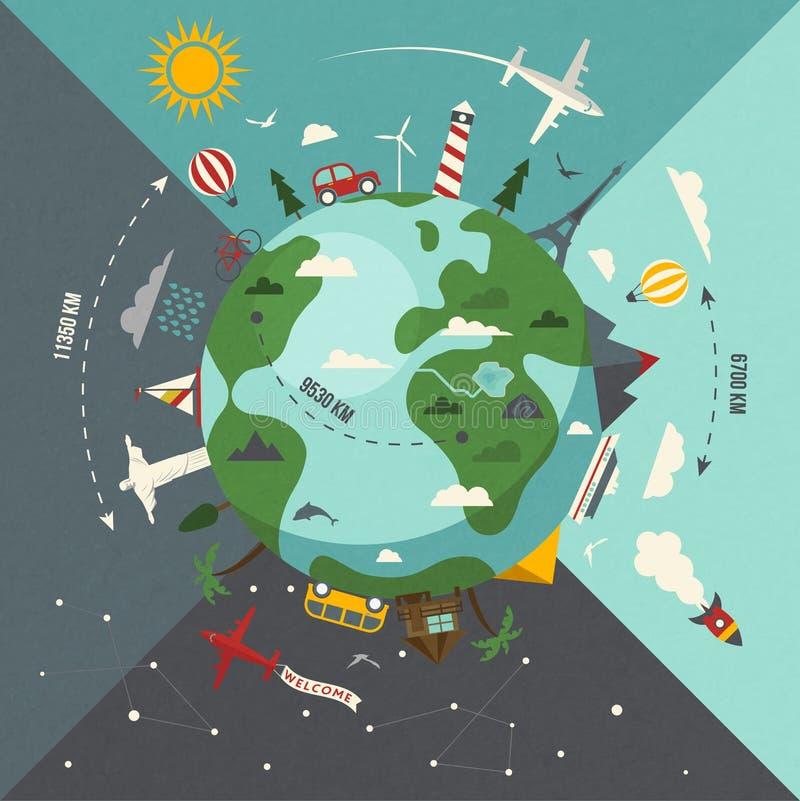 De aarde vlakke illustratie van het de zomerparadijs royalty-vrije illustratie