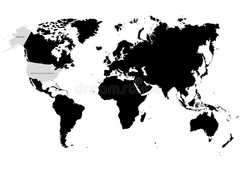 De Aarde, Wereldkaart met de Verenigde Staten van Amerika specifiek op witte achtergrond Vector illustratie vector illustratie