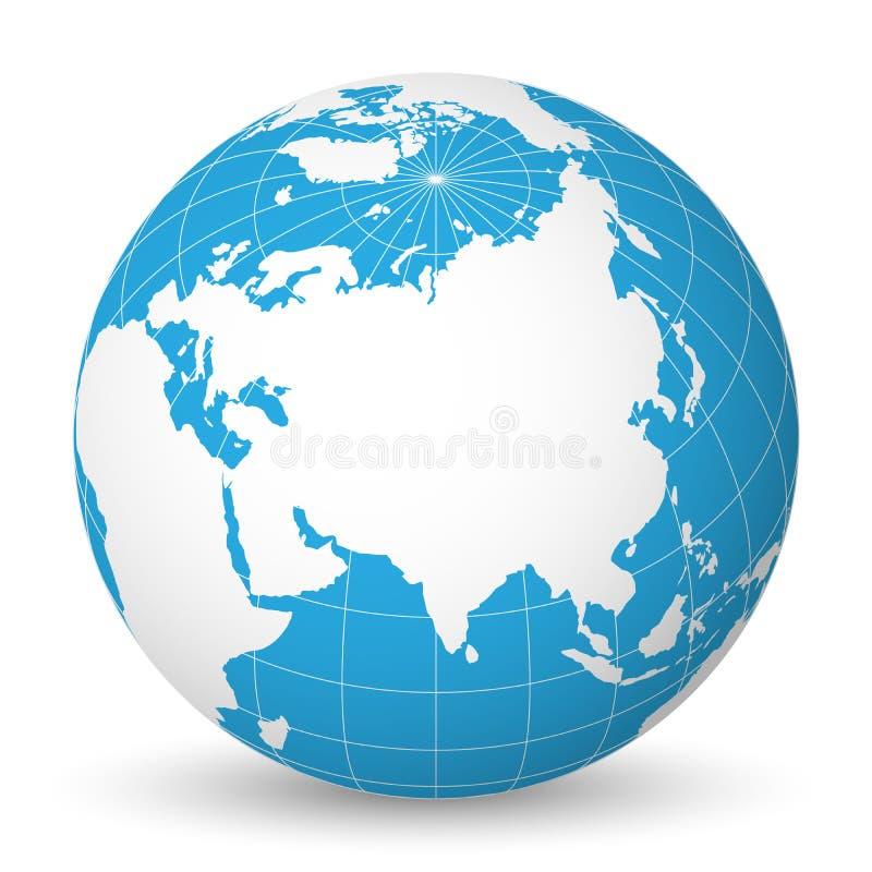 De aardebol met witte wereldkaart en blauwe overzees en oceanen concentreerde zich op Azië Met dunne witte meridianen en parallel royalty-vrije illustratie