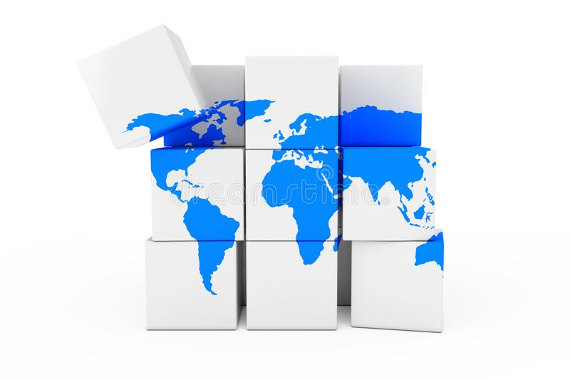 De Aardekaart van de bolwereld in de vorm van Kubus het 3d teruggeven stock illustratie