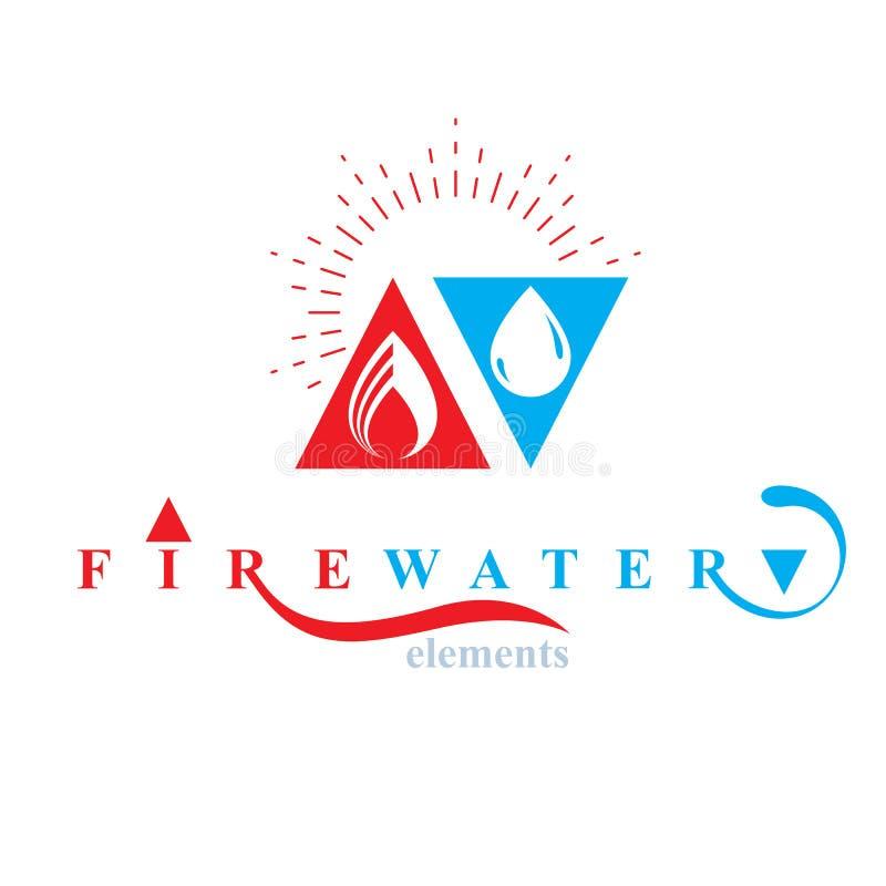 De aardelementen brengen conceptueel voor gebruik als marketing van ontwerpsymbool in evenwicht Brand en waterharmonie stock illustratie
