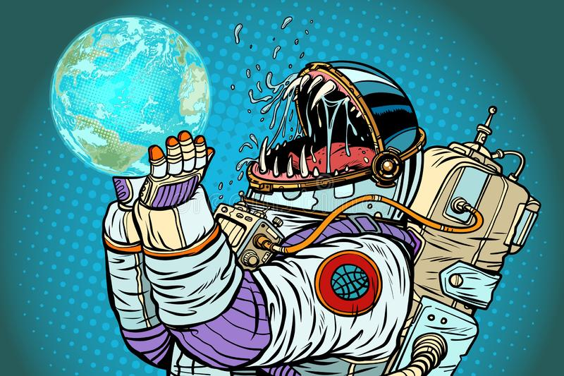 De aardeplaneet van het astronautenmonster Conc hebzucht en honger van mensheid stock illustratie