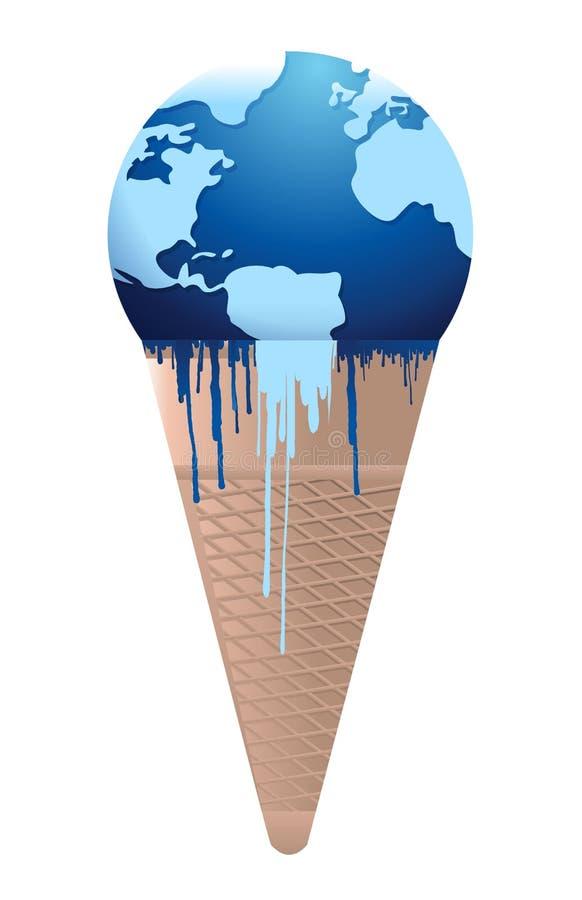 De aardesmeltingen van het roomijs - globaal het verwarmen concept royalty-vrije illustratie