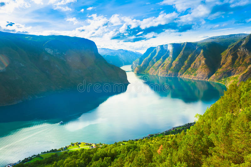 De Aardfjord Sognefjord van Noorwegen stock foto