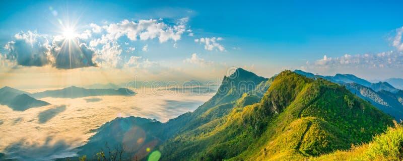 De de aardzomer van het berglandschap of de lenteachtergrond met zon r stock afbeelding