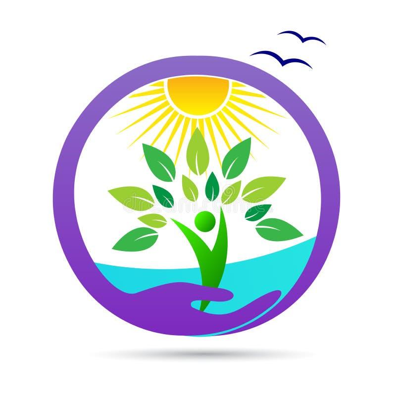 De aardzorg bewaart landbouw het gezonde embleem van milieuwellness stock illustratie