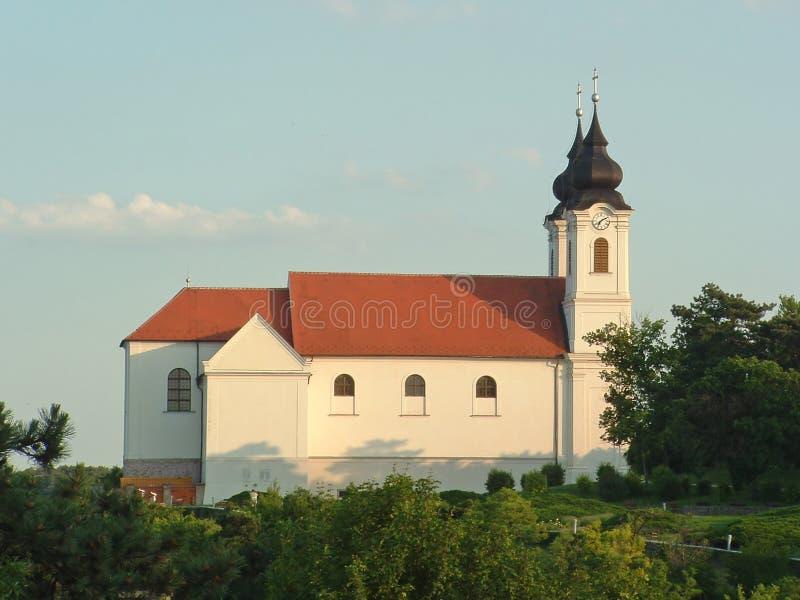 De abdij van de benedictine dichtbij het meer Balaton in Tihany, stock afbeeldingen