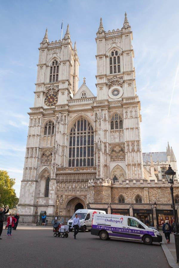 De Abdijvoorgevel van Westminster, Londen, het UK stock foto's