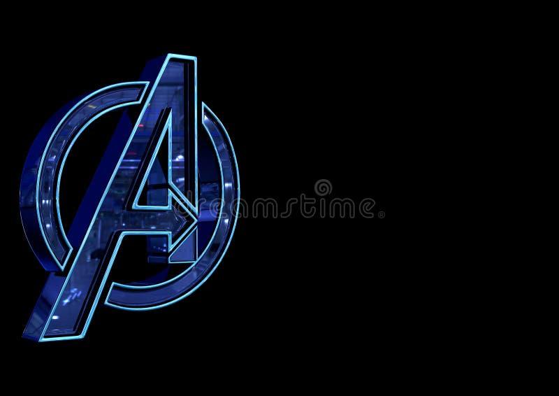 8 de abril de 2019, Brasil Logo Avengers Endgame O Endgame dos vingadores é um filme produzido por estúdios da maravilha ilustração do vetor