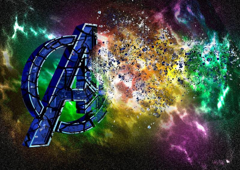 8 de abril de 2019, Brasil Logo Avengers Endgame O Endgame dos vingadores é um filme produzido por estúdios da maravilha O logoti ilustração stock