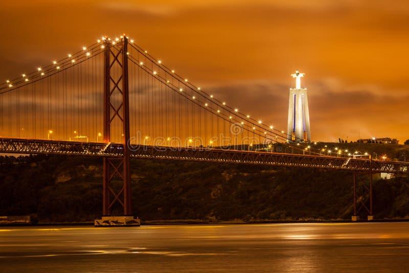 The 25 De Abril Bridge Over Tagus River Stock Image