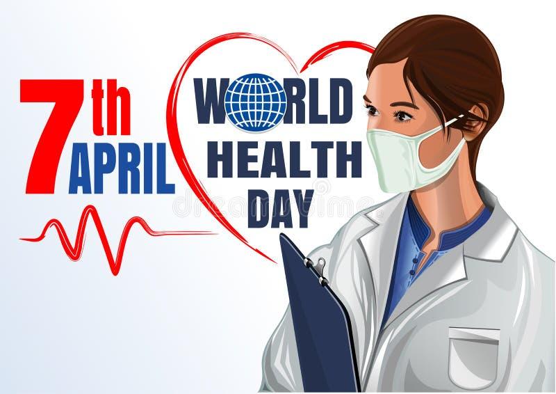 7 de abril Cartão do dia de saúde de mundo com médico da mulher ilustração royalty free