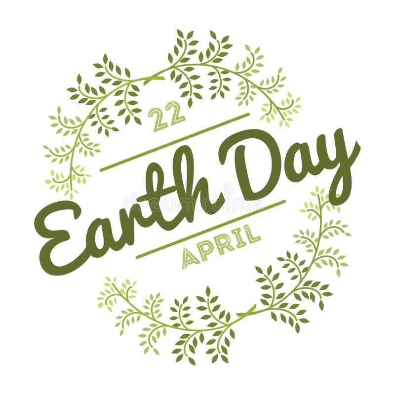 22 de abril Día de la Tierra del mundo los logotipos fijaron para las tarjetas o la bandera con el texto y las fuentes de felicit libre illustration