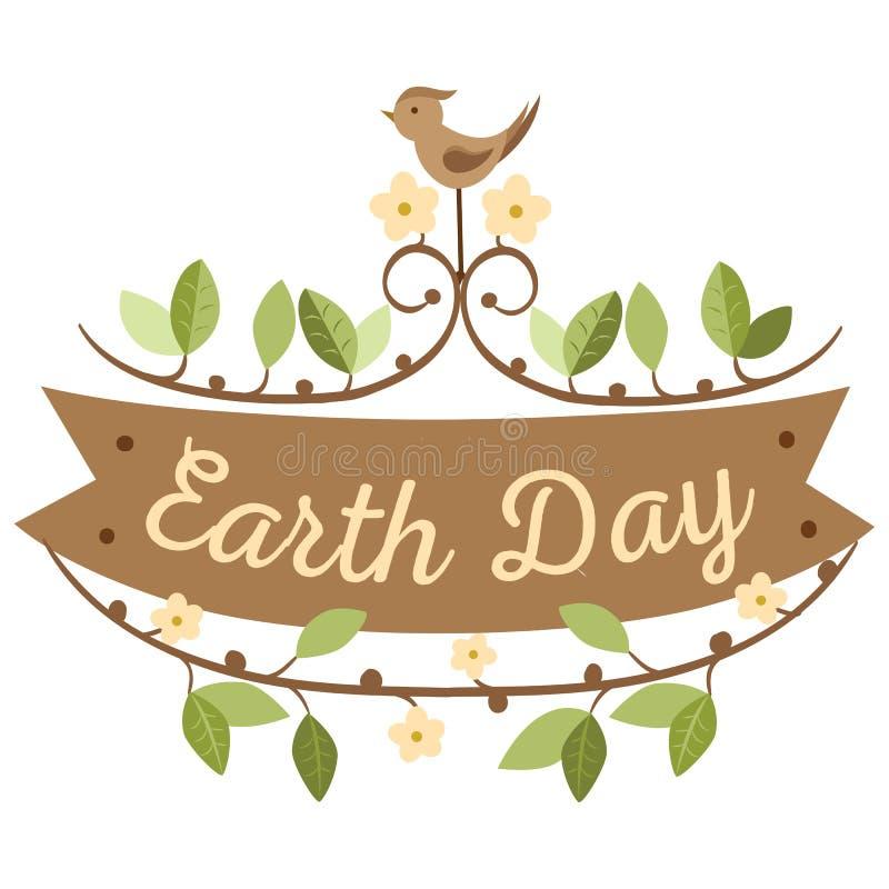 22 de abril Día de la Tierra del mundo los logotipos fijaron para las tarjetas o la bandera con el texto y las fuentes de felicit ilustración del vector