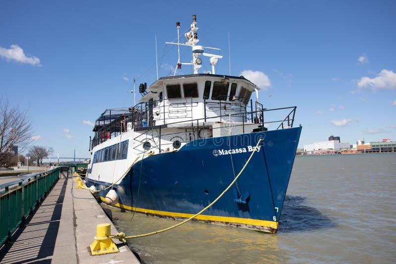 15 de abril de 2019 navio de cruzeiros Detroit River do rio do barco de Windsor Ontario Canada Macassa Bay fotos de stock