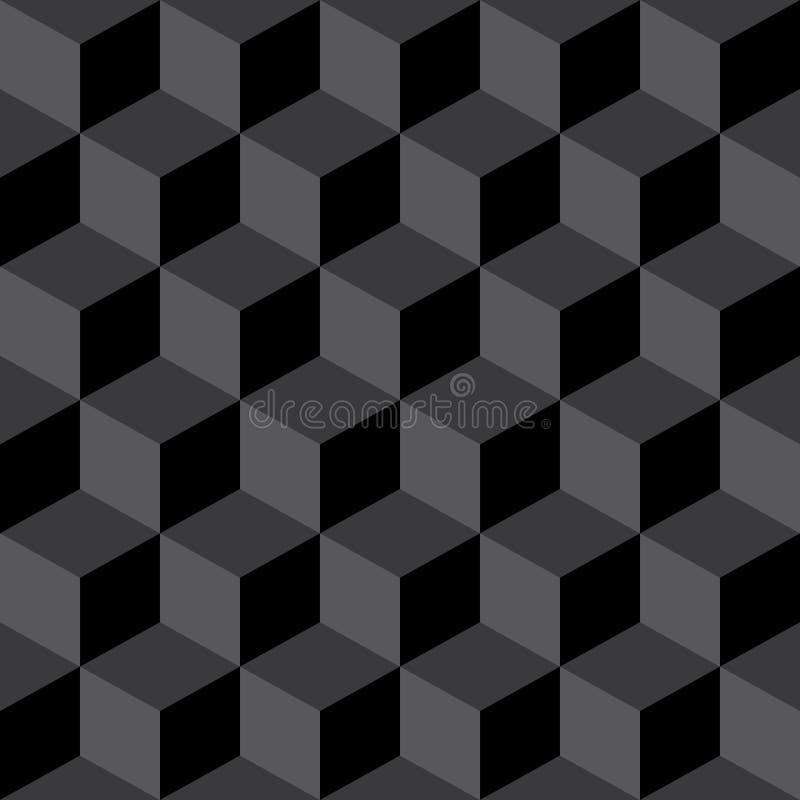 De abstract Naadloos Geruit Zwarte & Gray Pattern Background van het Kubusblok stock illustratie