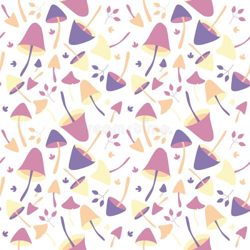 De abstracte achtergrond met de aardelementen van het dalingsseizoen, vector naadloos patroon met de herfst schiet als paddestoel royalty-vrije illustratie