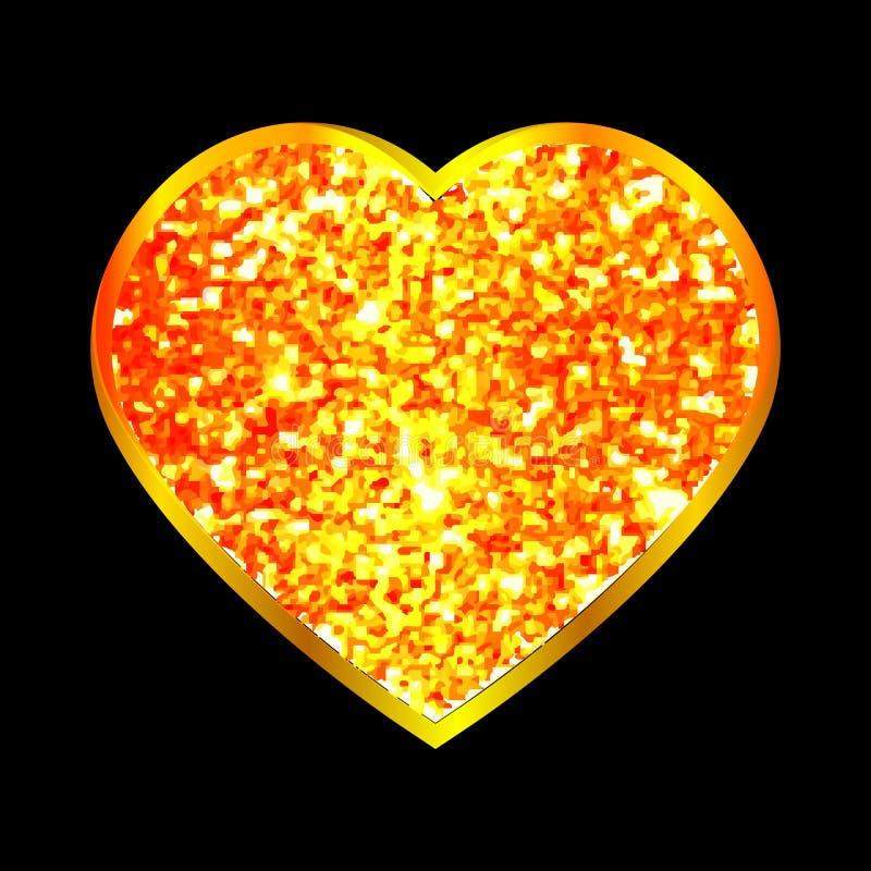 De abstracte achtergrond met goud schittert hart Vector illustratie Het concept van de liefde Leuk behang Goed idee voor uw Huwel vector illustratie