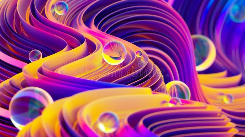 De abstracte achtergrond met vloeibare holografisch schittert vormen en glanzende gebieden vector illustratie