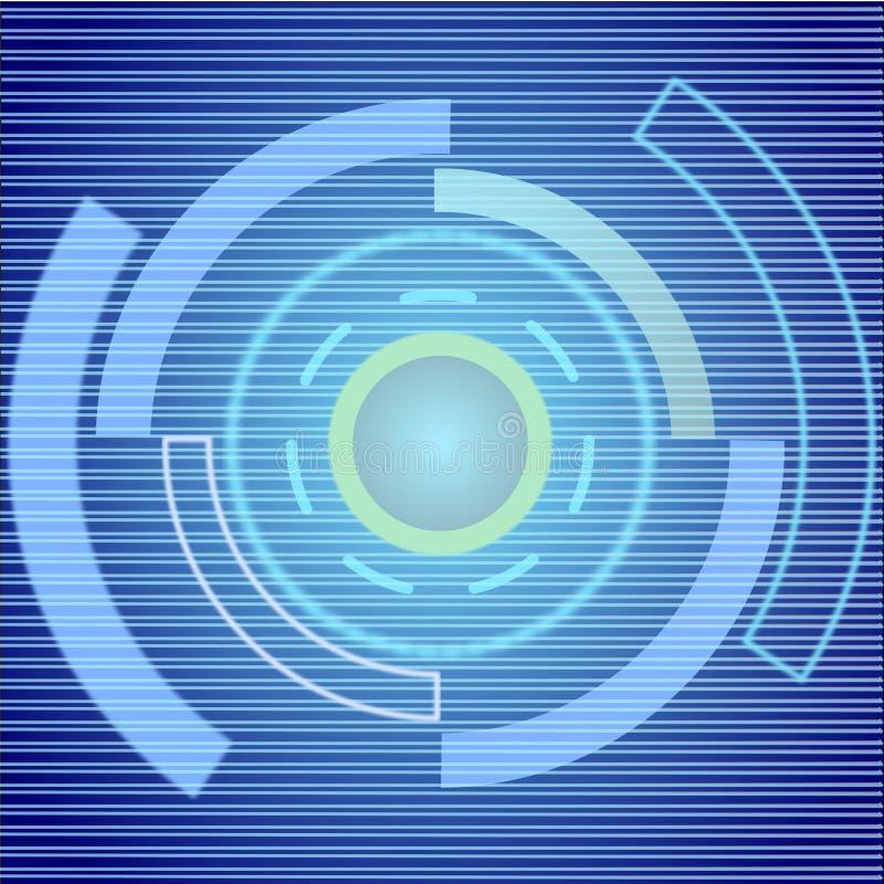 De abstracte achtergrond van de cirkel lichte digitale technologie illustratievector royalty-vrije illustratie