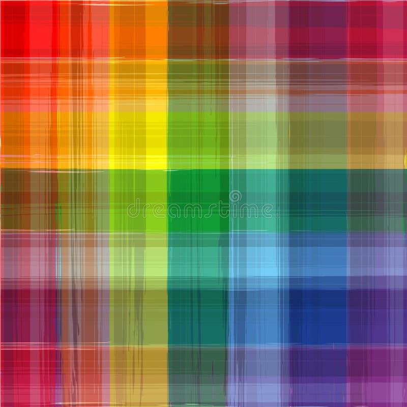 De abstracte achtergrond van de de tekeningsplaid van de regenboogkleur royalty-vrije illustratie