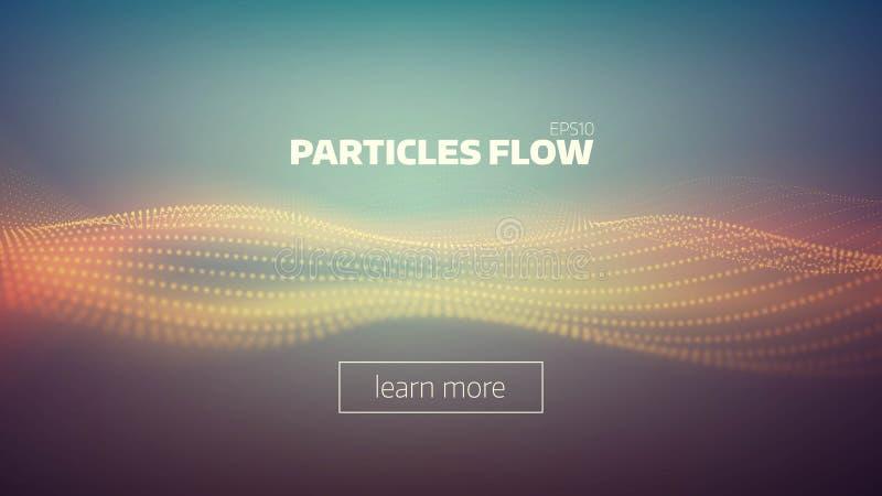 De abstracte achtergrond van de deeltjesstroom Correcte golf Gegevensstroom vector illustratie