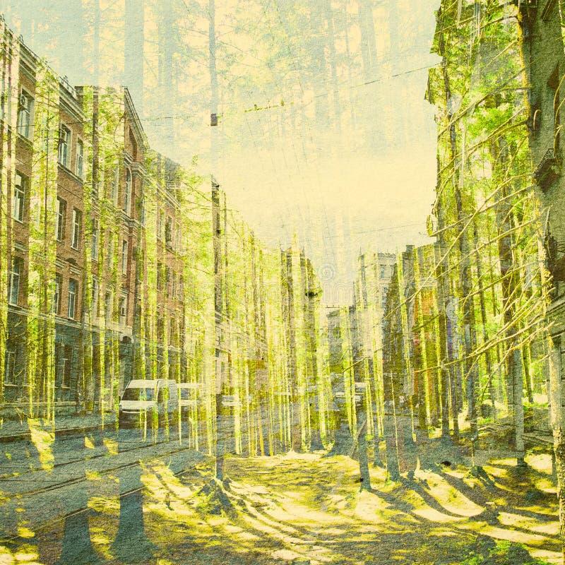 De Abstracte Achtergrond van de fantasieecologie Stedelijk die Landschap met Natuurlijk op Document Textuur wordt gemengd stock afbeeldingen